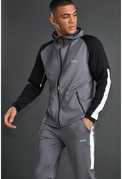 MAN Zip Through With Reflective Detail, Charcoal, HOMMES
