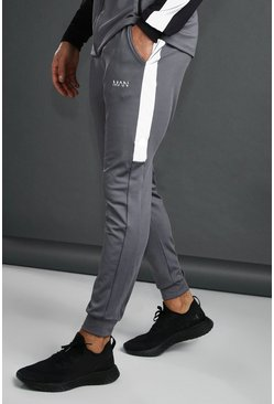 MAN Tapered Jogger With Reflective Panel, Charcoal, HOMMES
