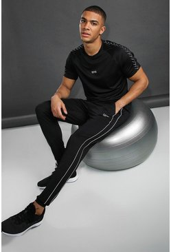 Mens Black MAN Skinny Fit Jogger With Reflective Piping