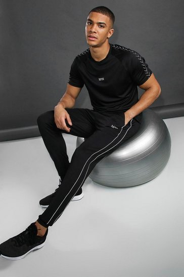 Black MAN Skinny Fit Jogger With Reflective Piping