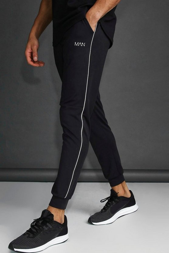 Black MAN Skinny Tapered Jogger With Reflective Detail
