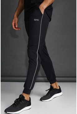 MAN Skinny Tapered Jogger With Reflective Detail, Black, HOMMES