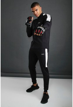 Mens Black MAN Funnel Neck Tracksuit With Reflective Detail