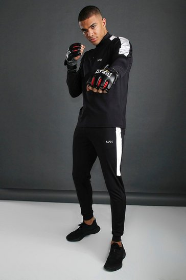 Black MAN Funnel Neck Tracksuit With Reflective Detail