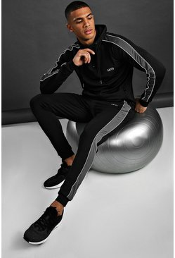 MAN Poly Skinny Fit Hooded Tracksuit, Black
