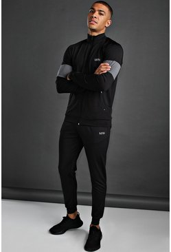 MAN Poly Skinny Tracksuit With Panel Detail, Black