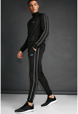 MAN Skinny Fit Tracksuit With Reflective Piping, Black