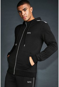 MAN Skinny Fit Panelled Zip Through Hoodie, Black