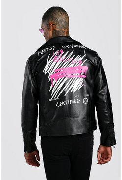 Leather Look Biker Jacket With Back Print, Black