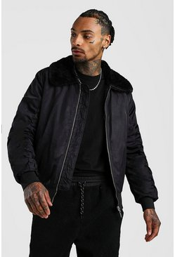 Black Padded Bomber With Fur Collar
