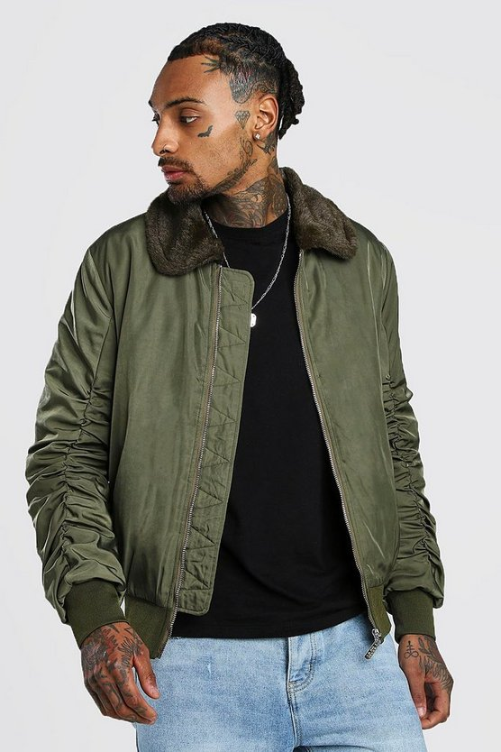 Khaki Padded Bomber With Faux Fur Collar