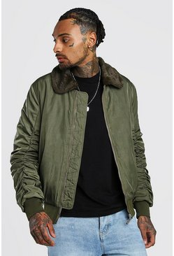 Padded Bomber With Faux Fur Collar, Khaki