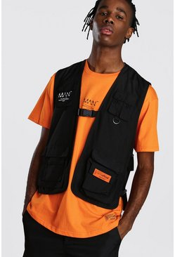 Mens Black MAN Utility 3D Pocket Vest With Buckles