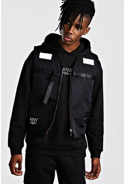 Mens Black MAN Utility Quilted Zip Vest With Reflective Detail