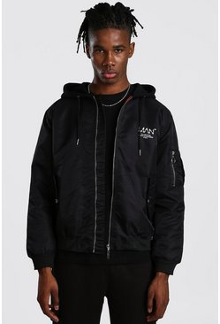 Mens Black MAN Utility Bomber Jacket With Jersey Hood