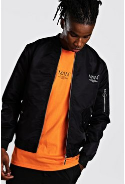 Mens Black MAN Utility Satin Bomber With Back Print
