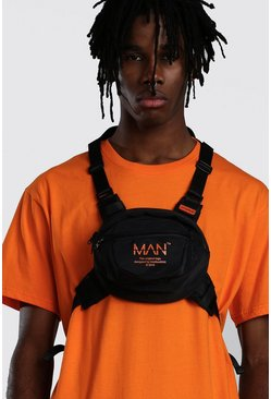 Mens Black MAN Utility Circular Chest Rig Bag