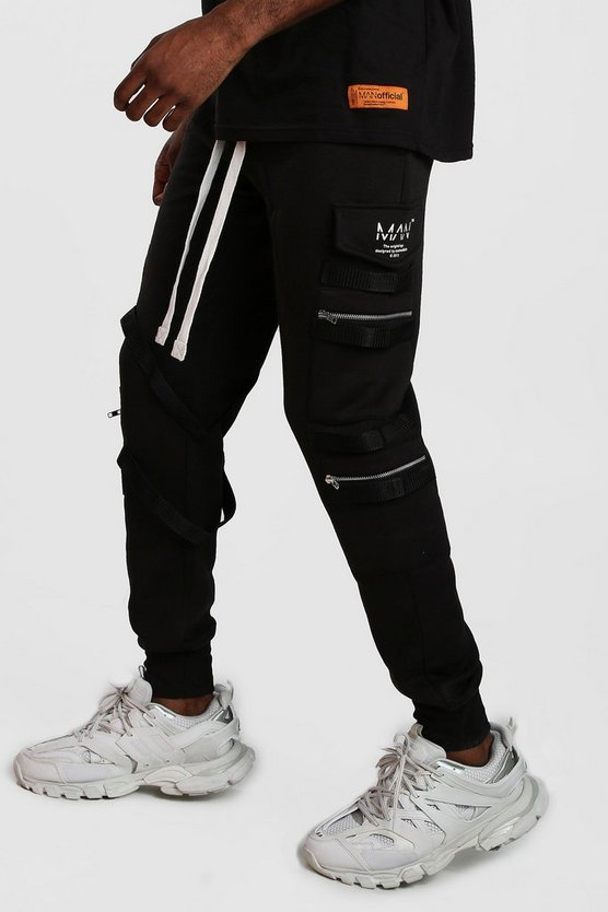 Mens Black MAN Utility Zip Joggers With Extended Cuff