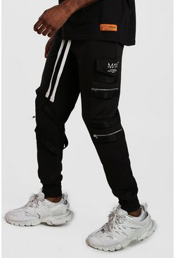 Black MAN Utility Zip Joggers With Extended Cuff