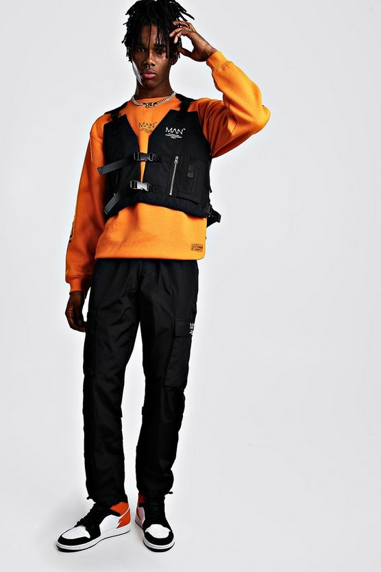 Black MAN Utility Vest & Jogger Set With Strap Detail