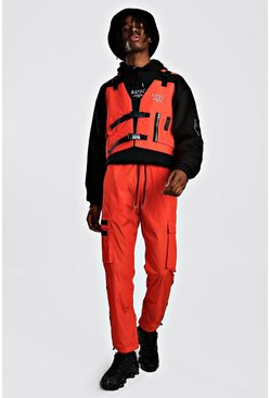 MAN Utility Vest & Jogger Set With Strap Detail, Orange, HERREN