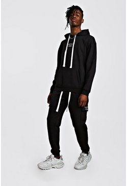 MAN Utility Loose Fit Back Print Hooded Tracksuit, Black, HERREN