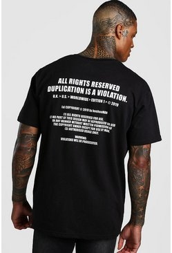 Mens Black MAN Utility Loose Fit Back Print T-Shirt