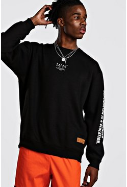 MAN Utility Sleeve Print Sweater With Zips, Black