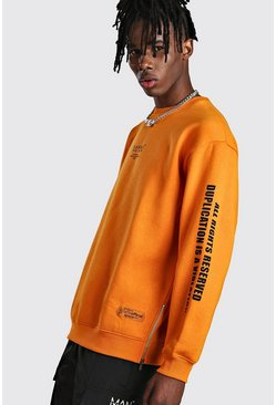 Orange MAN Utility Sleeve Print Sweater With Zips