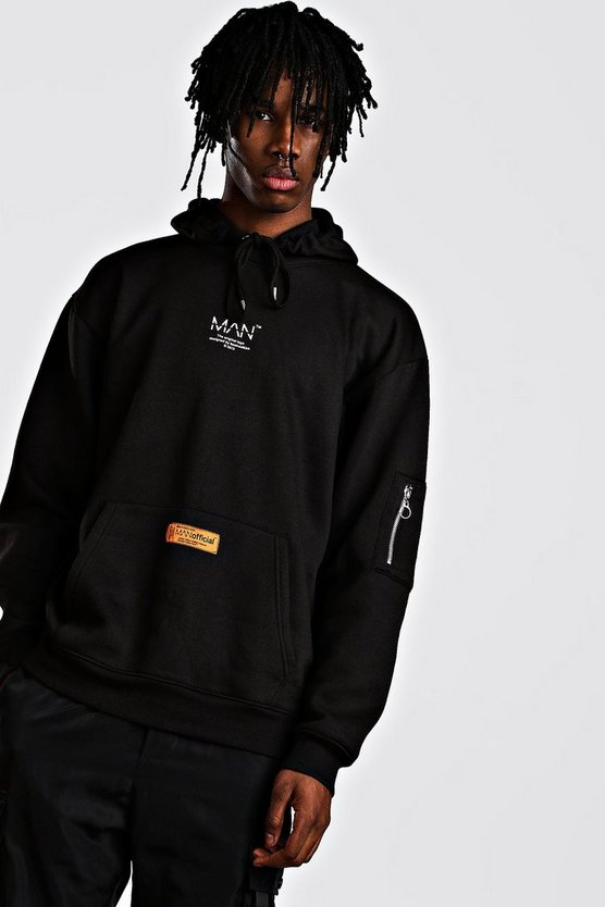 Black MAN Utility Oversized MA1 Hoodie With Tab