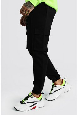 Mens Black Utility Pocket Cargo Jogger Trouser