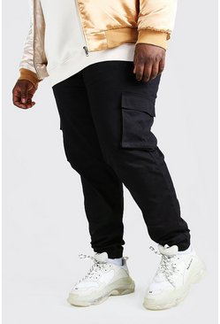 Mens Black Big And Tall Utility Pocket Cargo Jogger Trouser