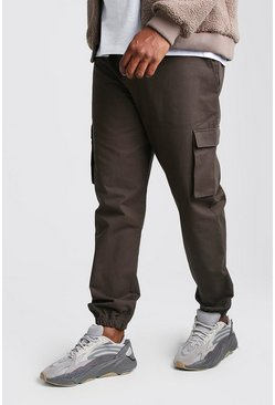 Mens Khaki Big And Tall Utility Pocket Cargo Jogger Trouser