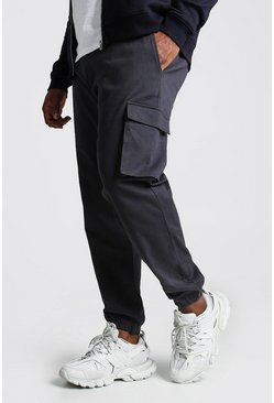 Mens Charcoal Big And Tall Utility Pocket Cargo Jogger Trouser