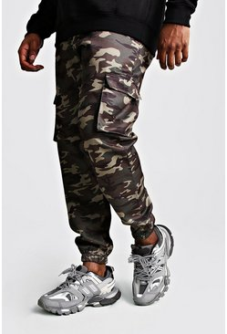 Mens Big And Tall Utility Camo Cargo Jogger Trouser