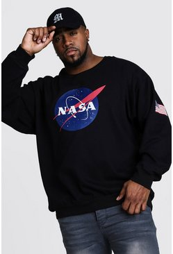 Mens Black Big And Tall NASA Front And Sleeve Print Sweater