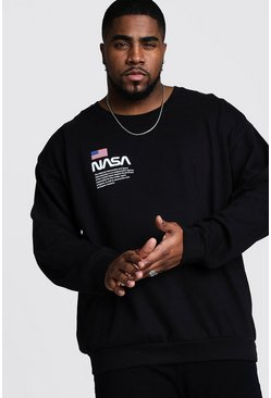 Mens Black Big And Tall NASA Chest Print Sweater