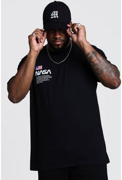 Black Big And Tall NASA Chest Print T-Shirt