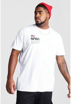 Mens White Big And Tall NASA Chest Print T-Shirt