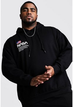 Big And Tall NASA Chest Print Hoodie, Black, МУЖСКОЕ
