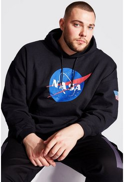 Black Big And Tall NASA Front And Sleeve Print Hoodie