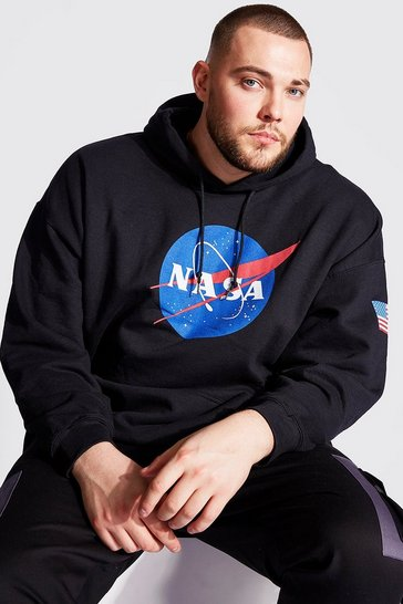 Mens Black Big And Tall NASA Front And Sleeve Print Hoodie