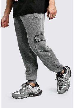MAN Signature Acid Wash Cargo Jogger, Charcoal