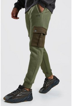 Mens Khaki Skinny Fit Cargo Jogger With Contrast Pockets