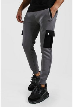 Mens Charcoal Skinny Fit Cargo Jogger With Contrast Pockets