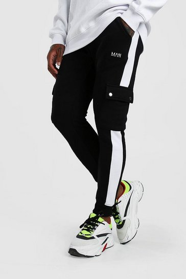 Black Orignal MAN Cargo Jogger With Side Panel