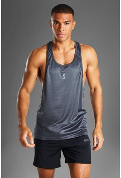 Charcoal MAN Active Poly Gym Racer Vest