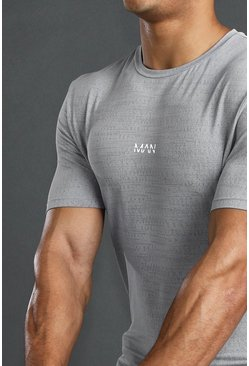MAN Active Muscle Fit Fabric Interest T-Shirt, Grey