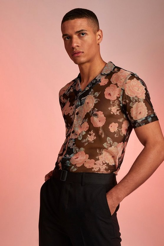 Black Short Sleeve Revere Collar Rose Print Shirt