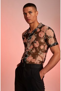 Short Sleeve Revere Collar Rose Print Shirt, Black
